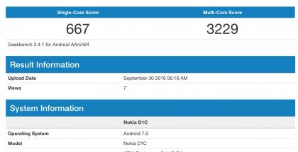 Nokia D1C:n GeekBench-tietoja.