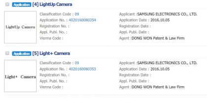 Samsungin tavaramerkkihakemukset LightUp ja Light+.