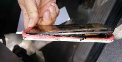 Toisessa Note7-räjähdyksessä vaurioitunut puhelin.