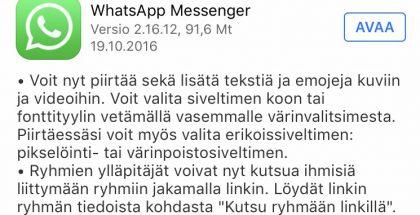 WhatsApp päivittyi iPhoneilla.