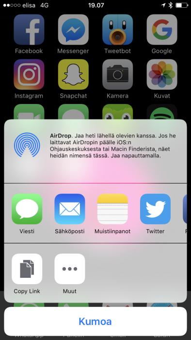 Jaa sovelluksia iOS 10