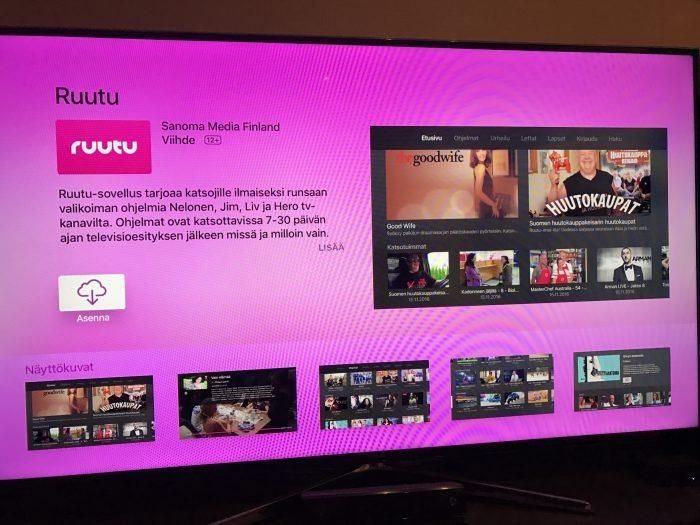 Ruutu-sovellus Apple TV:llä.