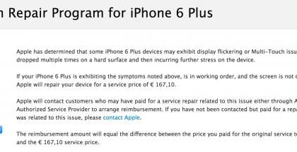Apple kertoo uudesta iPhone 6 Plus -korjausohjelmasta.
