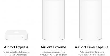 Applen AirPort-laitteet.