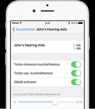 Kuulolaitteet iPhonen asetuksissa.