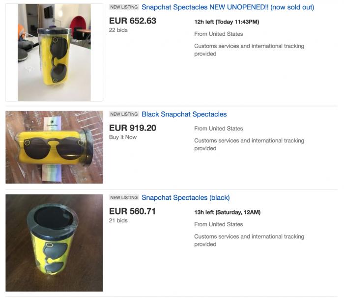 Snapin Spectacles-lasien hinnat eBayssa ovat nousseet korkealle.