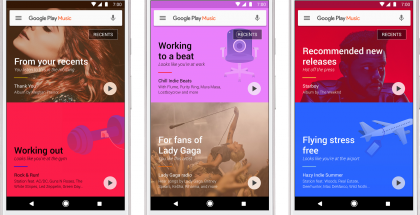 Google Play Musiikki -sovelluksen uusi kotinäkymä.