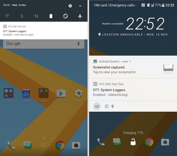 Twitter-käyttäjä LlabTooFeRin julkaisemia kuvia HTC 10:n Android 7.0 Nougat -ohjelmistosta.
