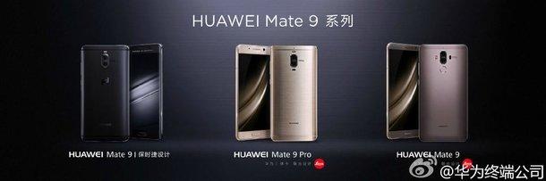 Huawein kolme eri Mate 9 -mallia.