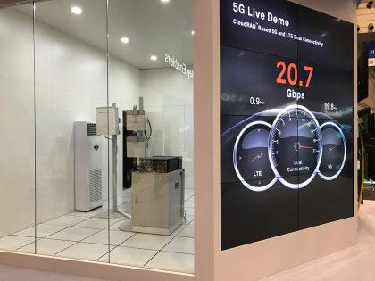Huawei esitteli 5G:n ja 4G LTE -verkon yhteistoimintaa todellisilla laitteilla live-demossa, jossa tietoa siirtyi yli 20 gigabitin sekuntivauhdilla.