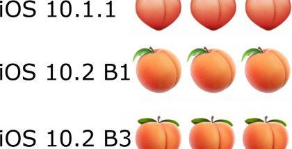 iOS:n persikkaemoji eri käyttöjärjestelmän versioissa.