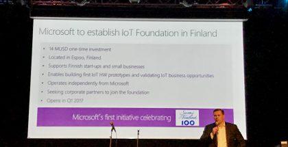 Microsoftin Suomen maajohtaja Pekka Horo kertoi IoT-pajan avaamisesta.