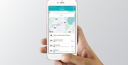 Moovel-sovellus mahdollistaa joukkoliikenteen tietojen tarkastelun.