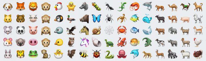 iOS 10.2:n uusia eläinemojeja.