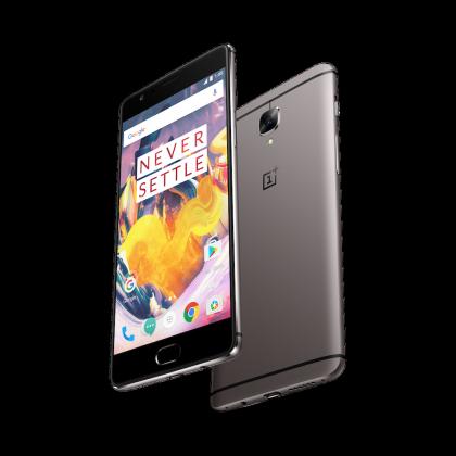 OnePlus 3T Gunmetal-värissä.