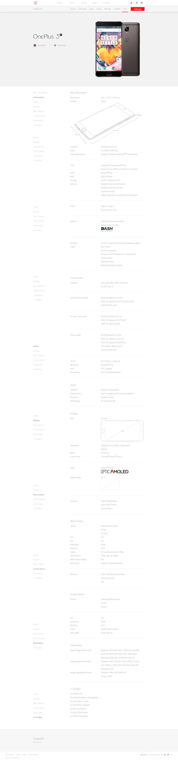 OnePlus 3T speksit