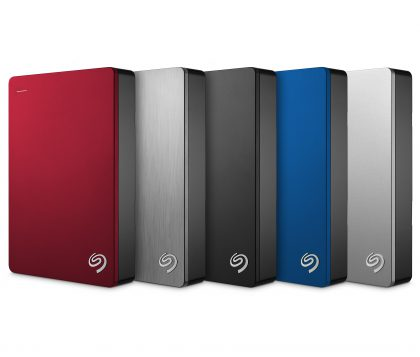 Seagate Backup Plus Portable 5TB:n eri värivaihtoehdot.