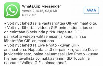 WhatsApp päivittyi iOSilla GIF-animaatioilla.