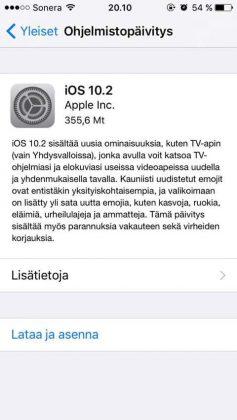 iOS 10.2 on nyt julkaistu.