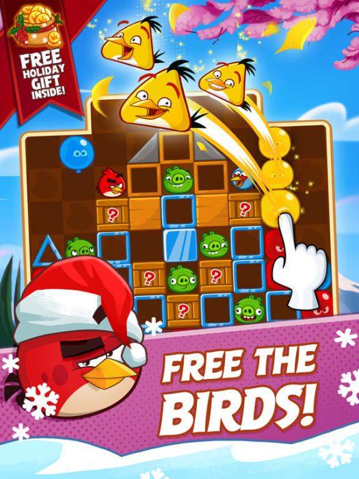 Angry Birds Plastissa on tarkoitus strategisesti napautella pallojen ryhmittymiä ja näin vapauttaa vihaiset linnut niiden sisältä.