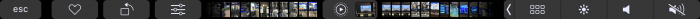 Touch Bar Kuvat-sovelluksessa. Kuvia voi selata pyyhkäisemällä.