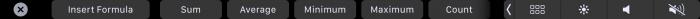 Touch Bar Applen Numbers-taulukkolaskennassa mahdollistaa esimerkiksi nopeasti peruskaavat.