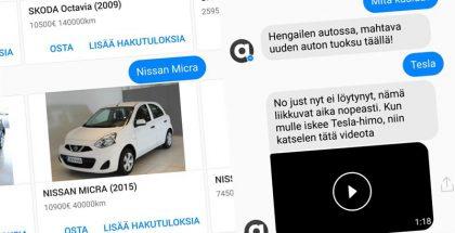 Autotie toi palvelunsa automatisoidusti Facebook Messengeriin.