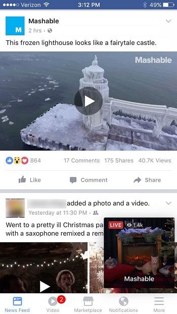 Mashablen julkaisema kuva kertoo, kuinka live-video voi ponnahtaa esille muiden julkaisujen päälle.