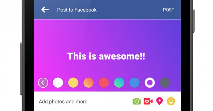 Facebookin lyhyille tekstipäivityksille voi jatkossa valita räikeän taustavärin.