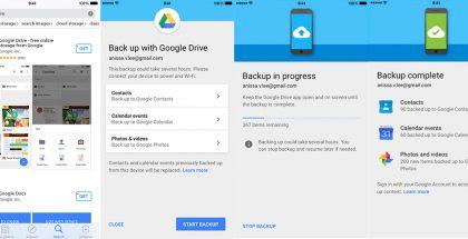 Näin Google Drivella saa iPhonen tiedot kopioitua Googlen pilvipalveluun.