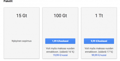 Google Driven tarjoamat hinnat eri paketeille.