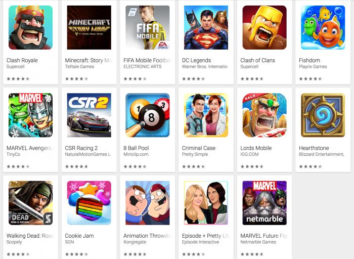 Esimerkkejä Google Playssa alennuksessa olevista peleistä.