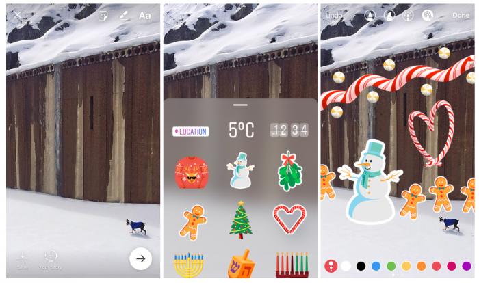 Instagram Storiesin joulu- ja talviaiheisia tarroja.
