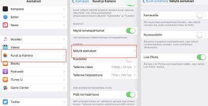 iOS 10.2:n asetuksista voi valita haluavansa säilyttää Kameran asetukset.