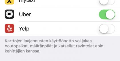 iOS 10:ssä sovellukset voivat toimia Applen Karttojen laajennuksina.