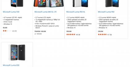 Lumiat Microsoftin Suomen verkkokaupassa. Myös alimmaisena näkyvä Lumia 650 on oikeasti loppu, kertoo sen tuotesivu.