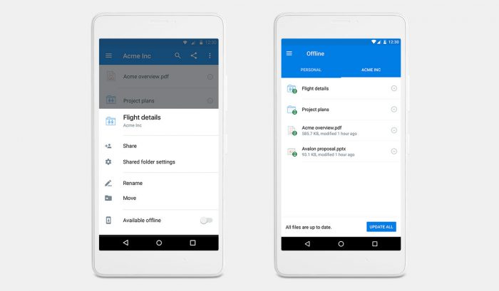 Dropbox Android offline-kansiot
