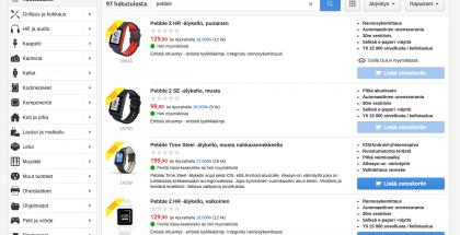 Pebble-kellot on nyt merkitty poistotuotteiksi Verkkokauppa.comissa.