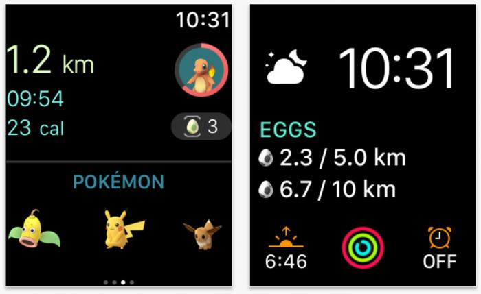 Pokémon GOn Apple Watch -sovelluksen päänäkymä ja tiedot munista Apple Watchin kellotauluun lisättynä komplikaationa.