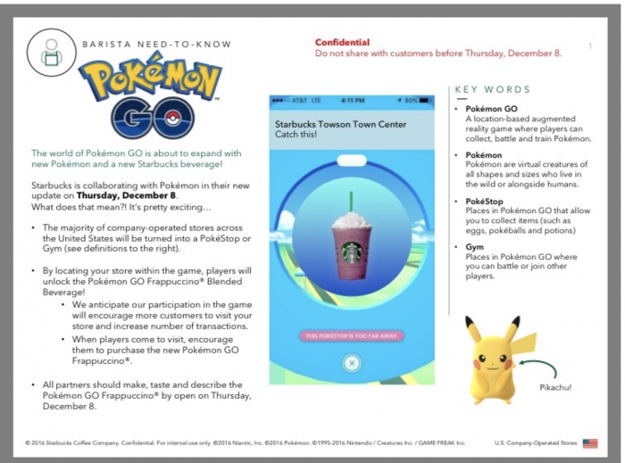 Starbucksin sisäinen kampanjatiedote näyttäisi kertovan myös uusien Pokémonien mukaantulosta.
