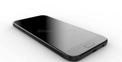 Samsung Galaxy A7 (2017):n design vuotokuvassa.