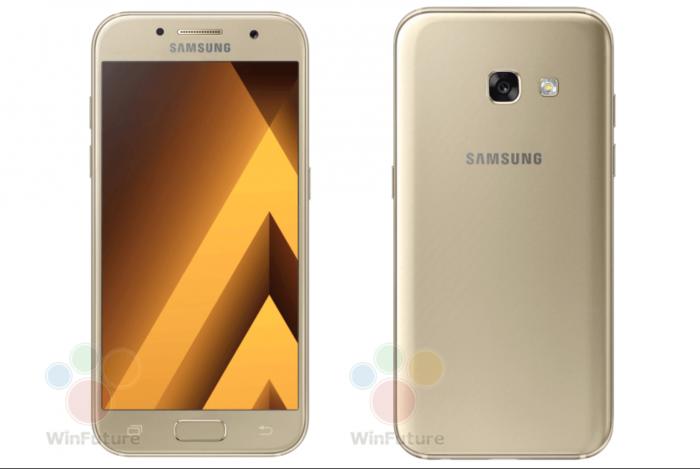 Samsung Galaxy A3 (2017) kultaisena värinä.