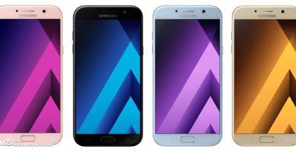 Samsung Galaxy A5 (2017) eri väreissä /Leaksin vuotokuvassa.