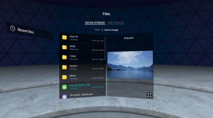 Gear VR:n File Explorer mahdollistaa eri tiedostojen avaamisen.