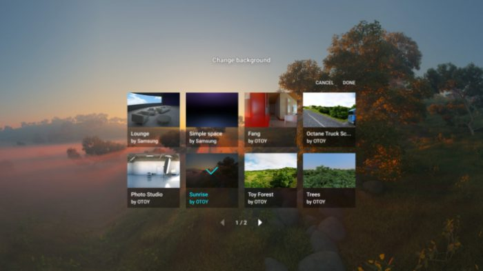 Taustakuvan voi nyt valita Gear VR:n selaimessa.