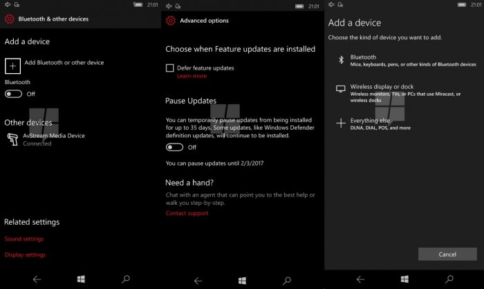 Windows 10 Mobile asetukset