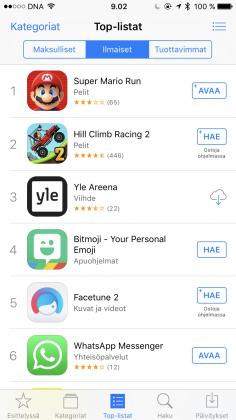 Super Mario Run nousi kärkeen App Storessa.