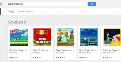 Super Mario Run -haku Google Playssa.