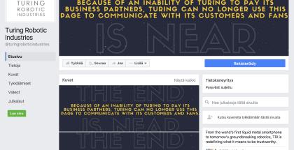 Turing Robotic Industriesin Facebook-sivu näyttää nyt tältä.