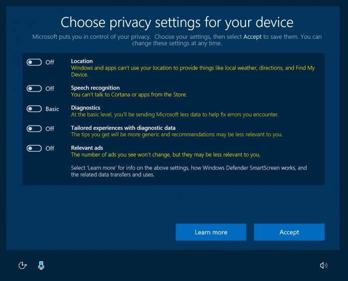 Windows 10 yksityisyysasetukset